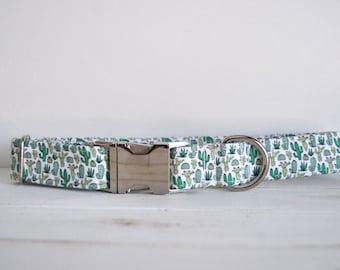 Cactus Dog Collar, Green, Mini Cactus, Spring, Girl Dog Collar, Boy Dog Collar, Metal Buckle Dog Collar