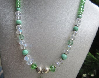 Green Glass Snake Pendant Beaded Necklace