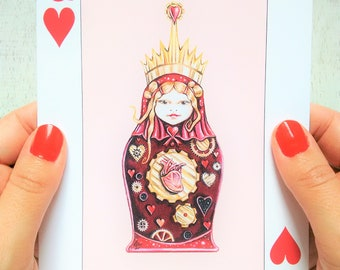 Queen of Hearts Card, Greeting Card, Just Because Card, Note Card, Blank Card, Playing Card Card, Fine Art Card, Queen of Hearts