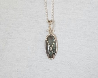 15% OFF Labradorite wire wrapped pendant in silver filled wire OOAK