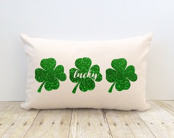 St Patrick's Day Pillow Cover, Lucky Shamrock, Irish, 4 Leaf Clover