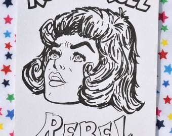 Rock 'n Roll Rebel Risograph Print, Rock 'n Roll Risograph print, Rock 'n Roll Print, A6 Size Risograph Print, Rock 'n Roll Girl