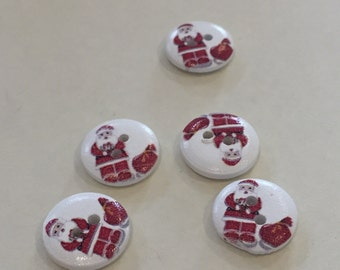 Father Christmas and Sack Round Button, Santa and Toy Sack Picture Button, pack of 15, 15mm.