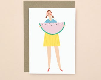 Watermelon Illustrated Greetings Card