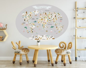Grey Oval WorldMap Vinyl, kids printables, countries, animals