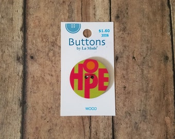 Large wood button hope button buttons by La Mode #3006 bright wood button