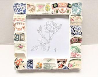 Floral Mosaic frame. Rose mosaic. Mosaic picture frame. Moss Rose art. Flower mosaic. Pen & ink print. Vintage china. Photo frame mosaic