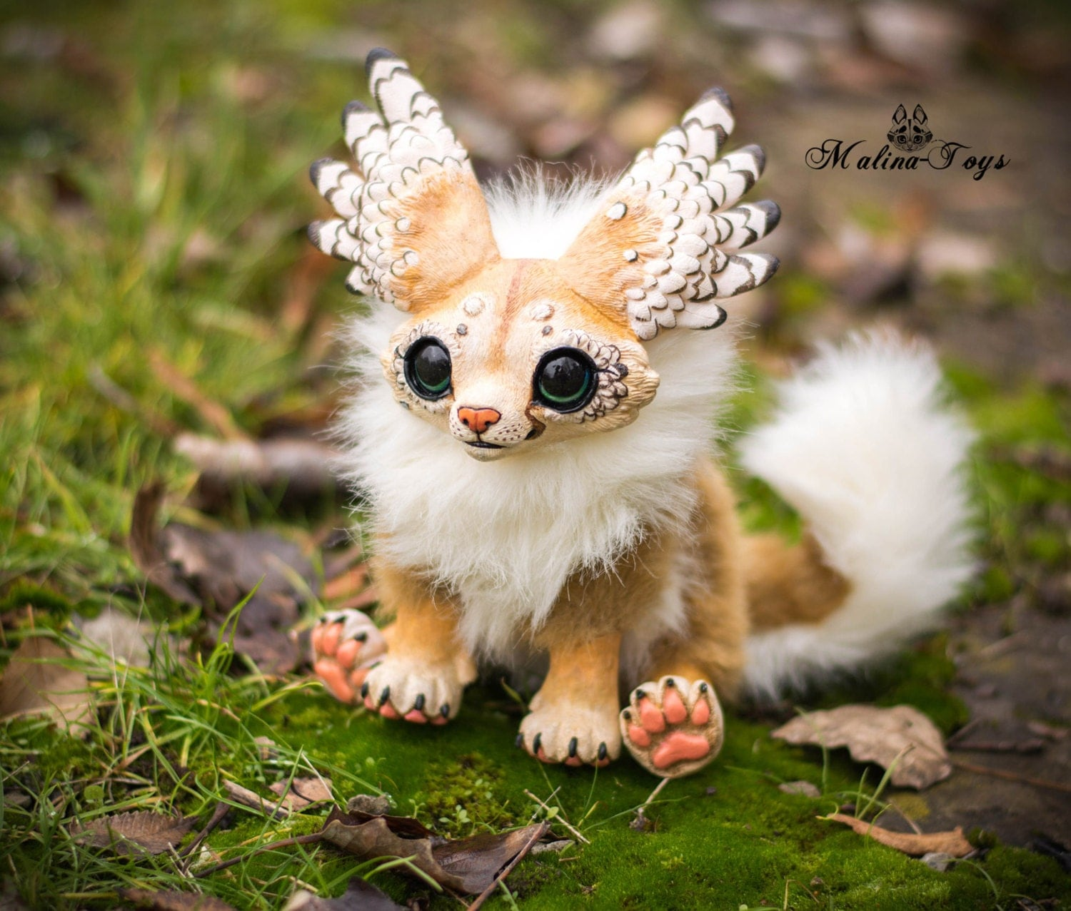 CUSTOM ORDER Handmade poseable Winged fox.Fennec