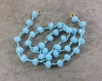 """18"""" Light Aqua Thread Necklace Section with 8mm Faceted Glossy Finish Rondelle Shaped Opaque Pale Aqua Chinese Crystal Beads - (18CC-TBD)"""