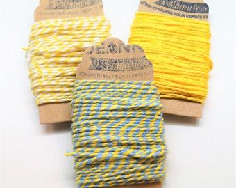 Kit 3 coupons cotton strings baker's twine, yellow, yellow-white, yellow-bleu ciel, 3 x 10 m