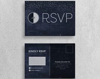 Moon and Stars RSVP Postcard Wedding Stationary