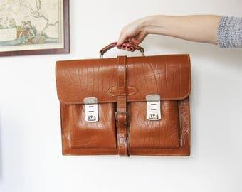 Vintage Mint Leather Top Handle School Bag | Messenger Bag | Leather Briefcase