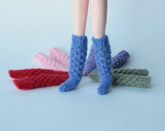Blythe socks, Blythe stockings, Blythe high socks, Hand knitted stockings for Blythe, Licca, momoko, Pure Neemo, 12 inch doll socks, clothes