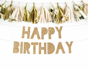 HAPPY BIRTHDAY Banner  l  Birthday Banner  l  Birthday Decor  l Birthday Sign  l  Birthday Garland  l  Gold Birthday Banner