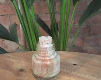 Vintage Hand Formed Painted Glass Bottle Cream/Copper