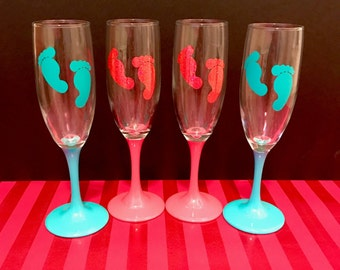 Baby Footprint Champagne Glasses for Mimosa Bar
