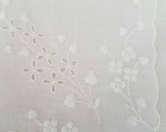 Simple Vintage Cotton Eyelet Hankie with Embroidered Lilies of the Valley