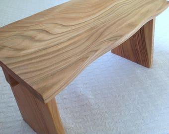 Waney edge meditation stool handmade from cherry, yoga stool, zen practice meditation bench