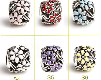 Flower Enamel Silver 4.3mm Hole Bead 11.8x9mm Big Hole Beads Spacer Bead Fit European Charm Bracelets Big Hole Bead Bead Supply