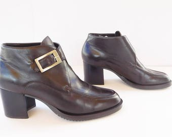 CALICO  women DARK brown ankle buckle strap boots size 8.5