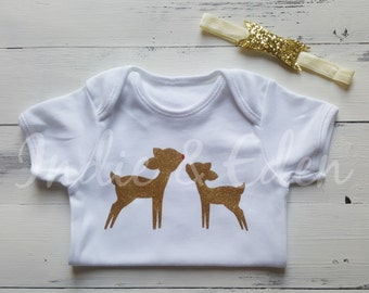 Christmas Baby Girls Gold Reindeer Cute Rudolph Glitter Personalised Vest Baby Grow Babygrow Gift Photo Prop