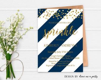 GOLD BLUE STRIPES Baby Sprinkle Invitation , Navy Blue and Gold Baby Shower Invitation , Printable , Personalized , Jpeg or Pdf Download