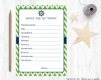 Nautical Baby Shower Advice For Mommy , Navy Green Baby Shower Wishes , Mommy To Be Advice , Nautical Baby Shower , Printable , DIY