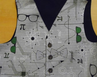 Hand made science / geek / nerd waistcoat and matching bow tie age 1, 2, 3, 4, 5 and 6