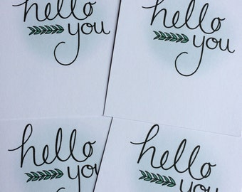Pack of 4 Notecards - Hello You