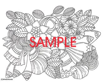 PDF version instant download Serenity Coloring Page   Flowers   Doodles   by Marty Woods