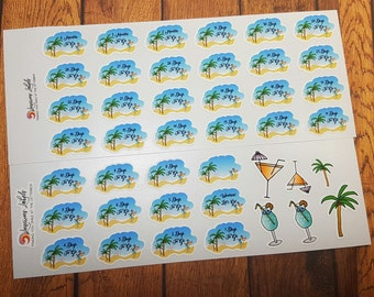 Summer Holiday Vacation Countdown Stickers plus Decorative | Hand drawn