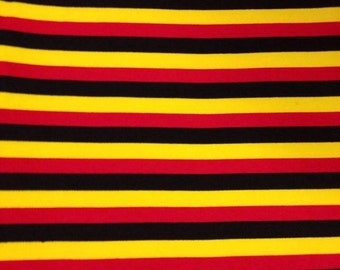 "Knit Mickey 1/2"" Stripes - Yellow, Red and Black Fabric 1/2 yard"