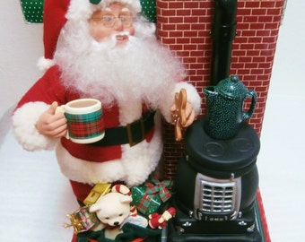 Vintage ANIMATED Santa W/ Pot Belly Stove  - Retro 20th Century Holiday Christmas Décor & Collectibles/ Holiday Creations China 1995
