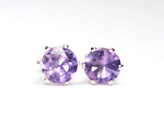 Amethyst earrings; Brazilian amethyst; Amethyst,Stud Earrings; Post earrings; Sterling silver earrings; Purple Earrings; Minimalist Earrings