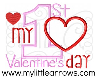 My first valentines day applique - cute valentine embroidery - 4x4 5x7 valentine design - embroidery file - 1st valentine's day applique
