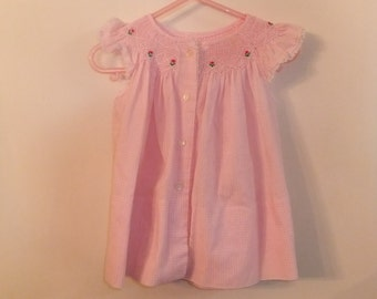 Pink checked smocked dress