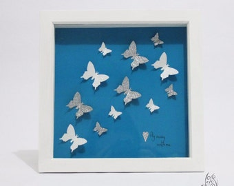 Butterfly Fly Away With Me Flutter Picture Frame Teal & Silver 9x9""