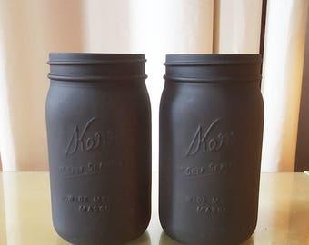 2 Black Matte Mason Jars {Quart Size}