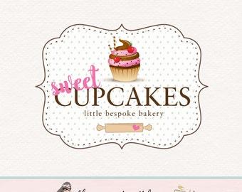cupcake logo design bakery logo baking logo bakers logo premade cupcake logo sweet shop logo bakery blog logo bespoke baking logo watermark