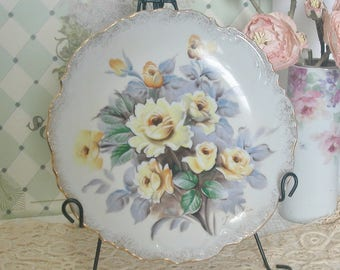 Hand Painted Porcelain Plate, Yellow Roses, Artist Signed, Cottage, Shabby Chic