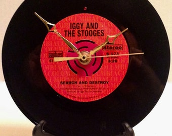 """Recycled IGGY & The STOOGES 7"""" Record • Search And Destroy • Record Clock"""
