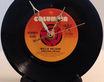 """Recycled WILLIE NELSON 7"""" Record • Amazing Grace • Record Clock"""