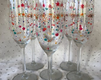 Series of 6 multicoloured champagne flutes