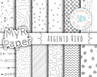 """Silver Digital Paper: """"Silver"""" Argento Vivo, Instant Download, Silver & White, with Chevron, Triangles, Polka Dots and more..."""