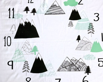 Milestone Blanket, Mountains, Monthly Baby Blanket, Photo Prop, Newborn