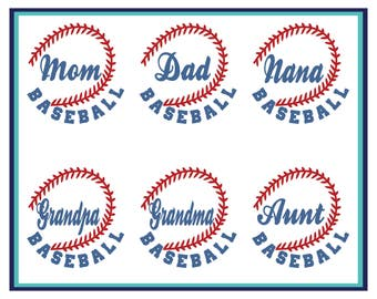 Baseball Mom Decal- Baseball Dad Decal- Baseball Car Decal- Baseball Decal -Sports Decal- Baseball Grandma- Baseball Grandpa-Vinyl Decal