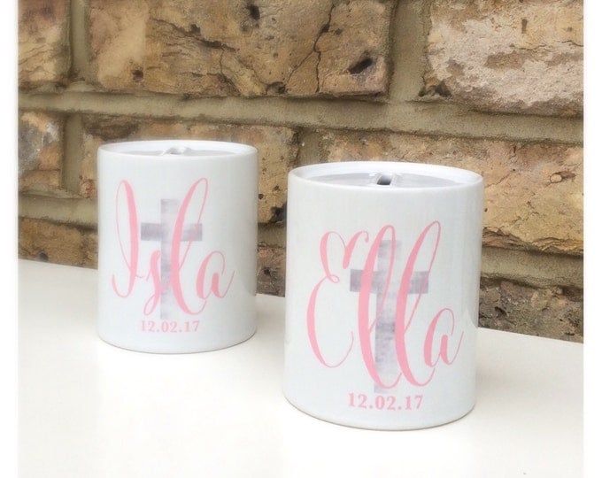 Personalised Money Box   Piggy Bank   Christening gift   Baptism gift   Children's money box   Available in any colour   Cross design.