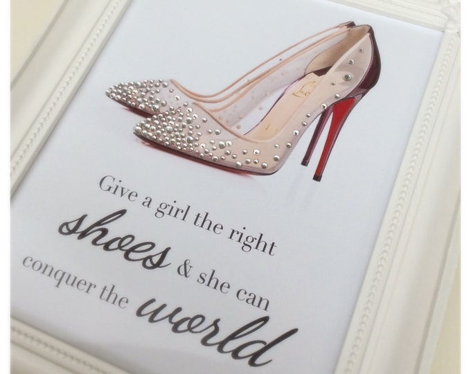 Crystal Louboutin shoes custom print | Give a girl the right shoes quote from marilyn monroe | Sparkle | Ornate frame 8x10