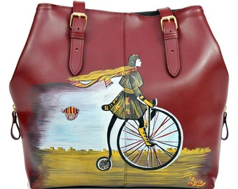 Hand Painted Fine Grain Leather Purse - Nur la Belle Epoque winered Purse by Lyria.ro