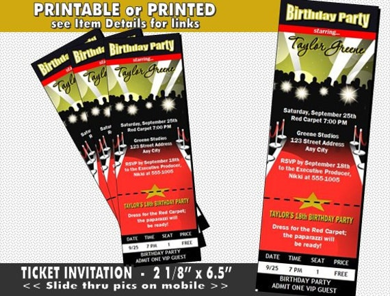 Red Carpet Paparazzi Ticket Invitation Printable with Printed – Red Carpet Party Invitation